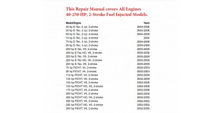 Service Manual 2002-2006 Evinrude E-tec and Ficht 2-stroke 40-250 HP